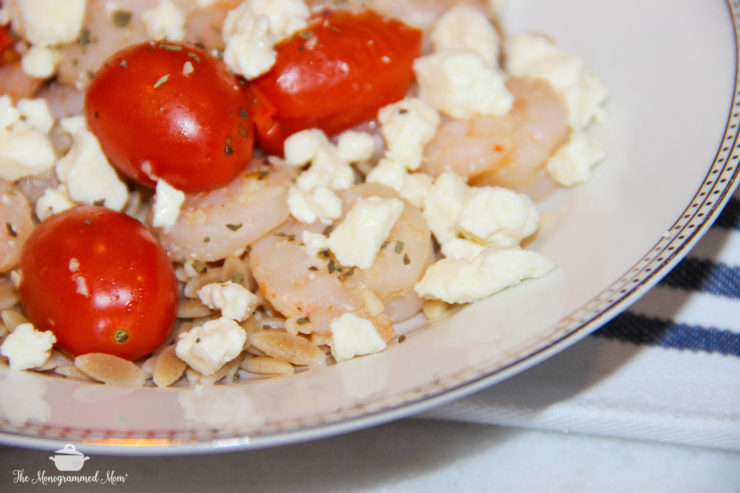Sauteed Shrimp and Tomatoes over Orzo with Feta