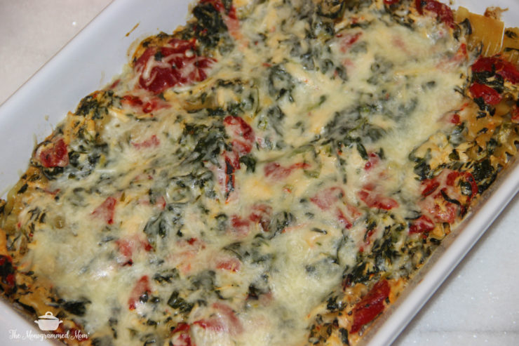 Spinach and Red Pepper Alfredo Lasagna