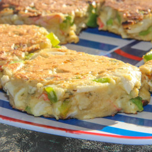 Crab Cakes & BLT Avocado Salad