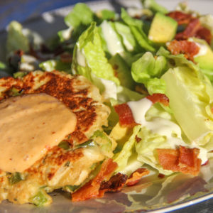 Crab Cakes & BLT Avocado Salad