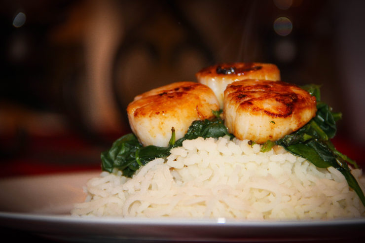 Garlic Grilled Scallops, Sauteed Spinach, Riced Potatoes
